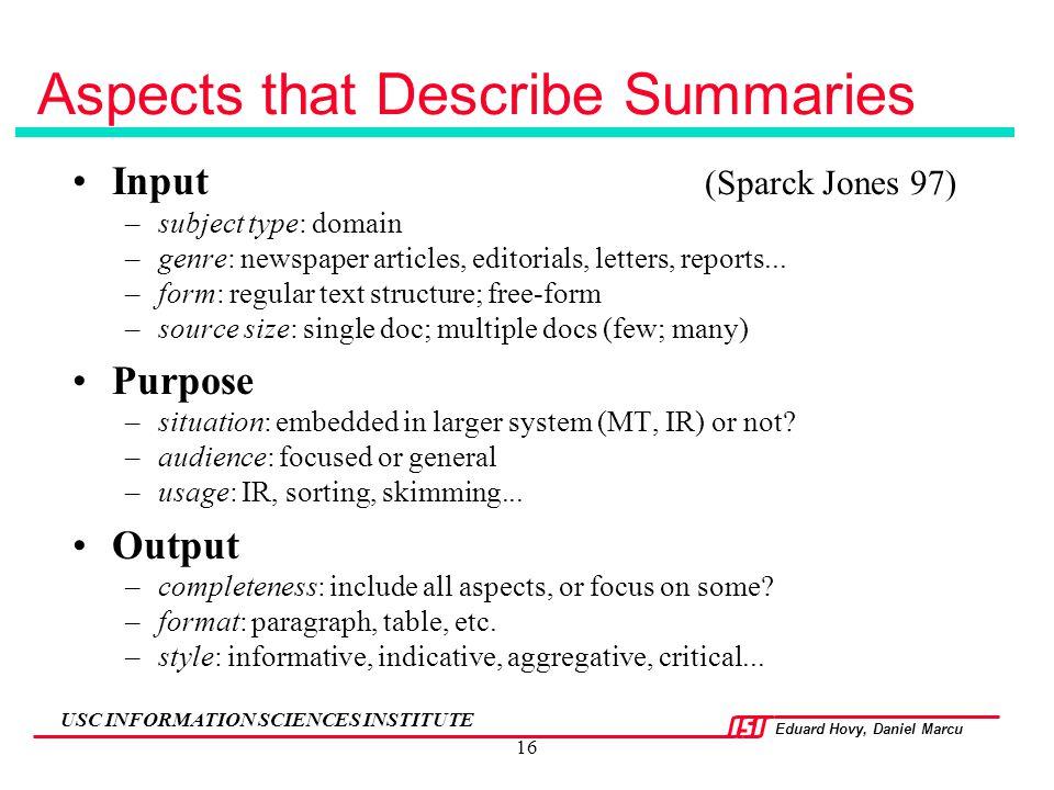 Aspects that Describe Summaries