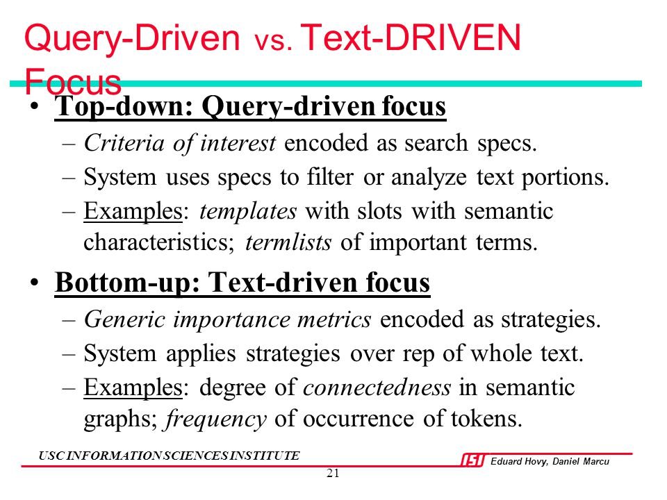 Query-Driven vs. Text-DRIVEN Focus