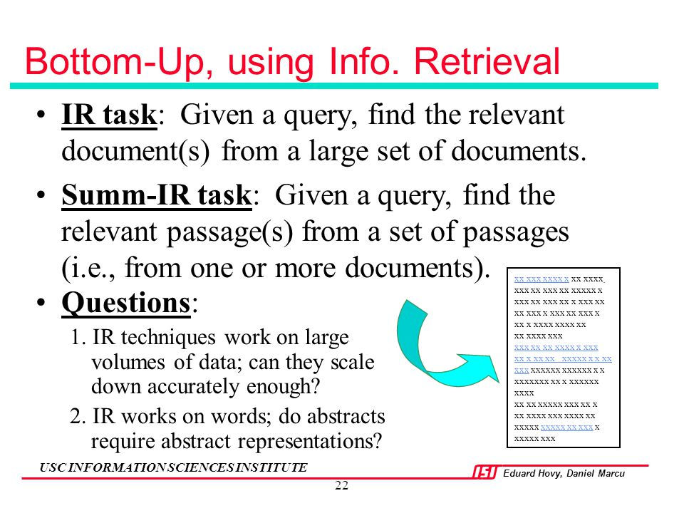Bottom-Up, using Info. Retrieval