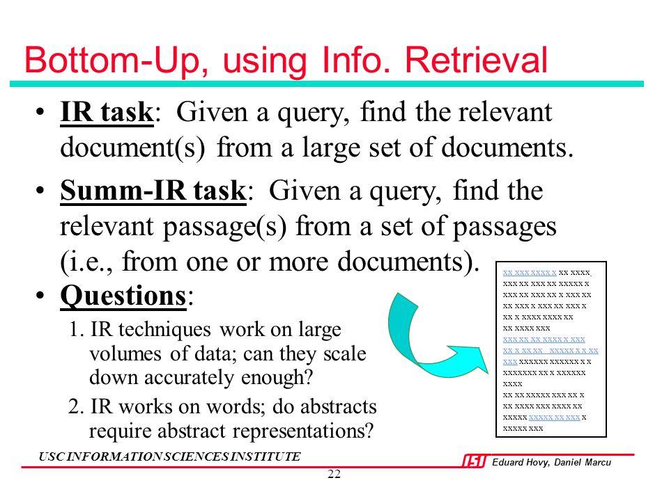 Bottom-Up, using Info. Retrieval