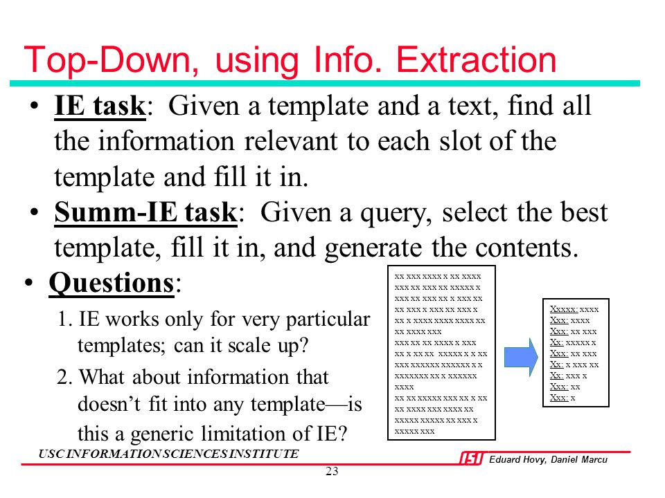 Top-Down, using Info. Extraction