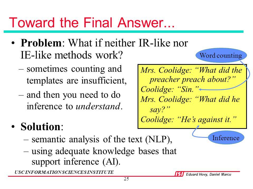 Toward the Final Answer...