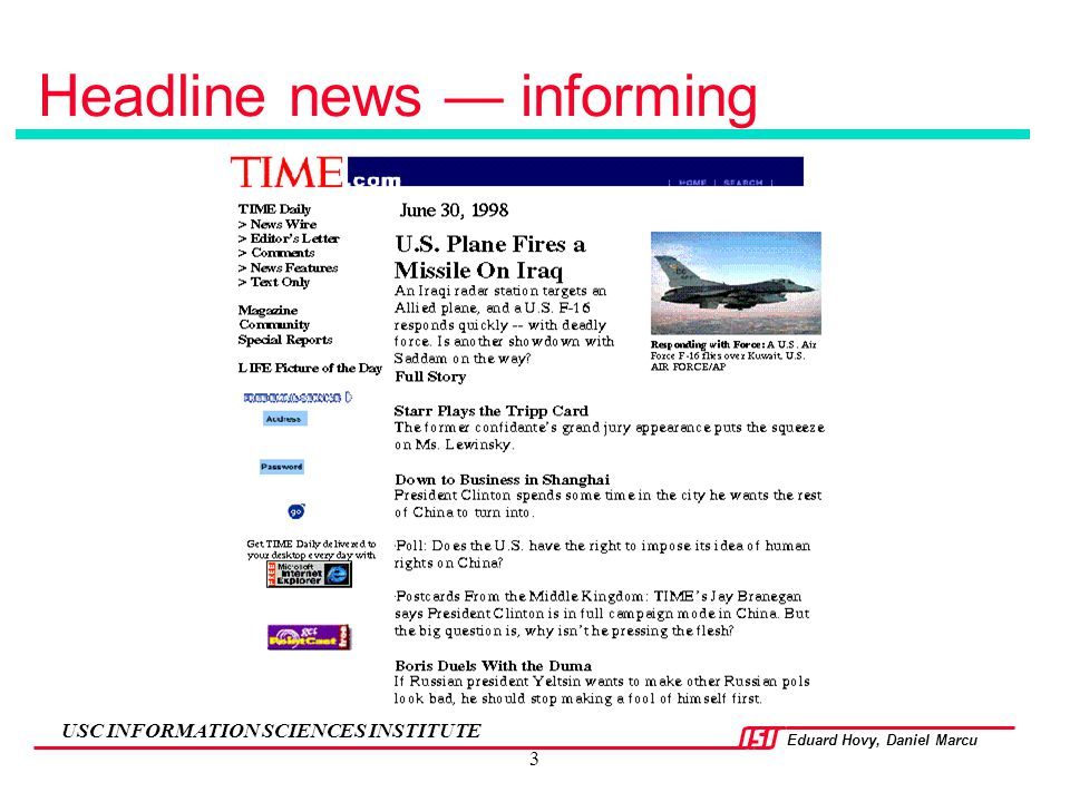 Headline news — informing