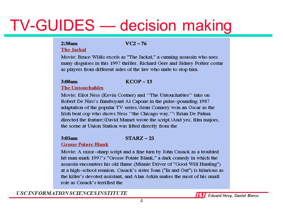 TV-GUIDES — decision making