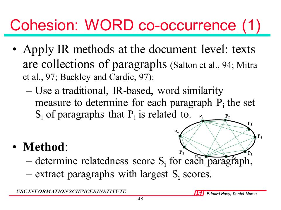 Cohesion: WORD co-occurrence (1)