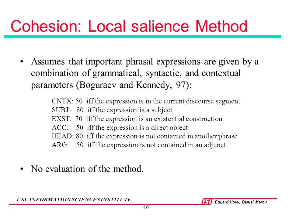 Cohesion: Local salience Method