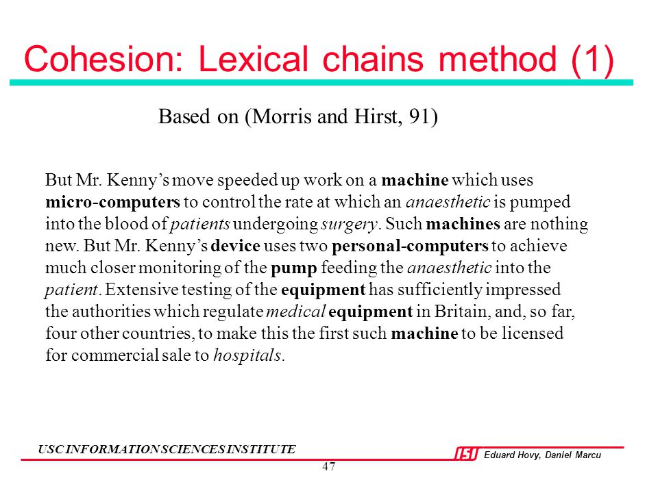 Cohesion: Lexical chains method (1)