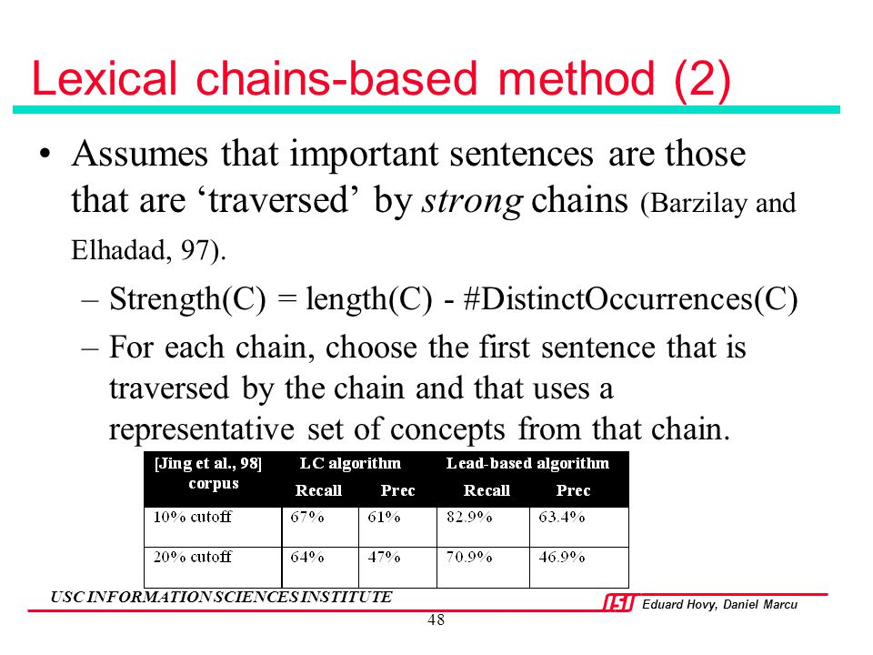 Lexical chains-based method (2)