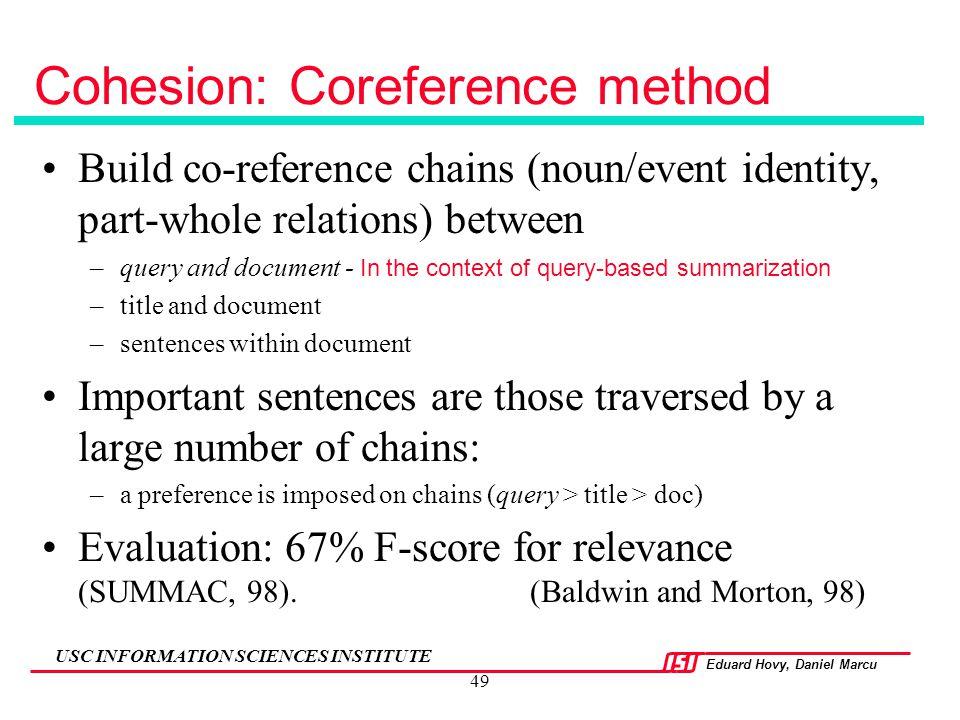 Cohesion: Coreference method