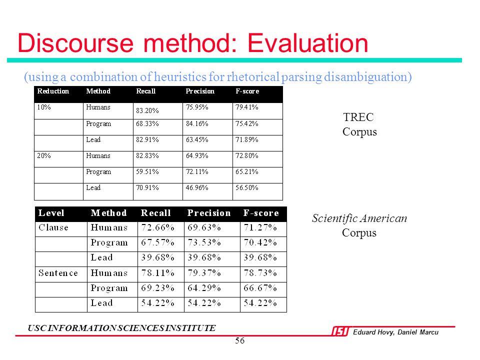 Discourse method: Evaluation