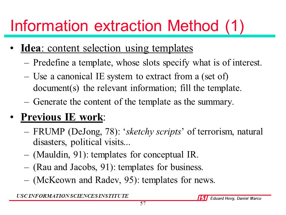 Information extraction Method (1)