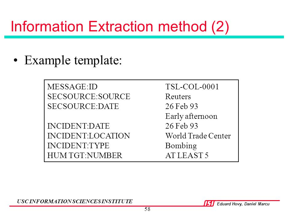 Information Extraction method (2)