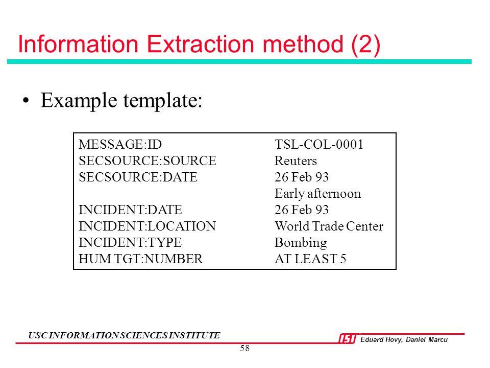 Information Extraction method (2)