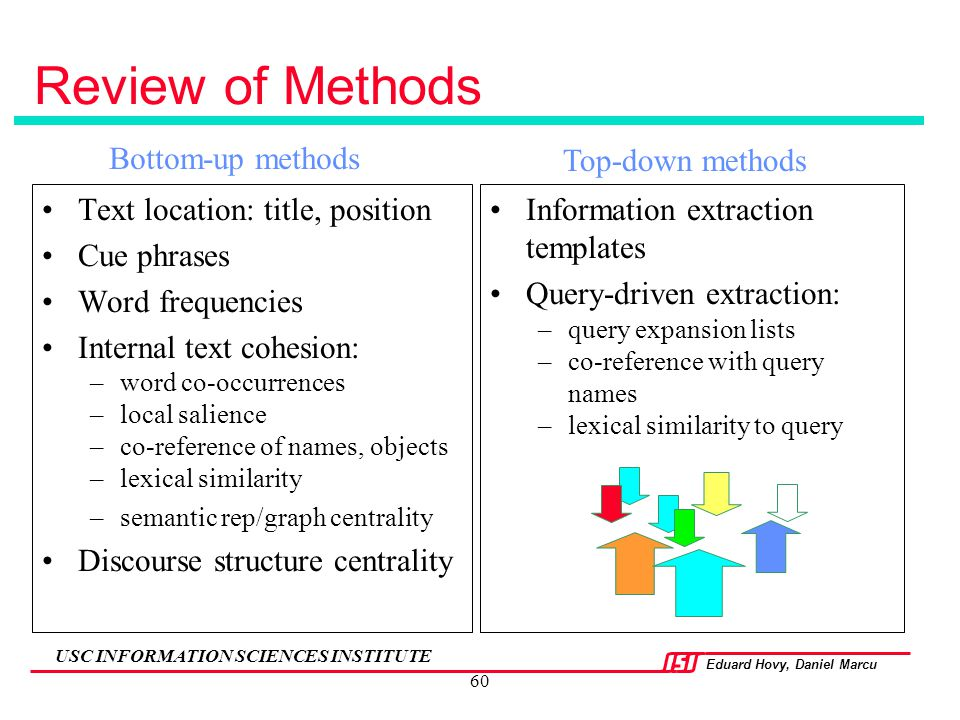Review of Methods Bottom-up methods Top-down methods
