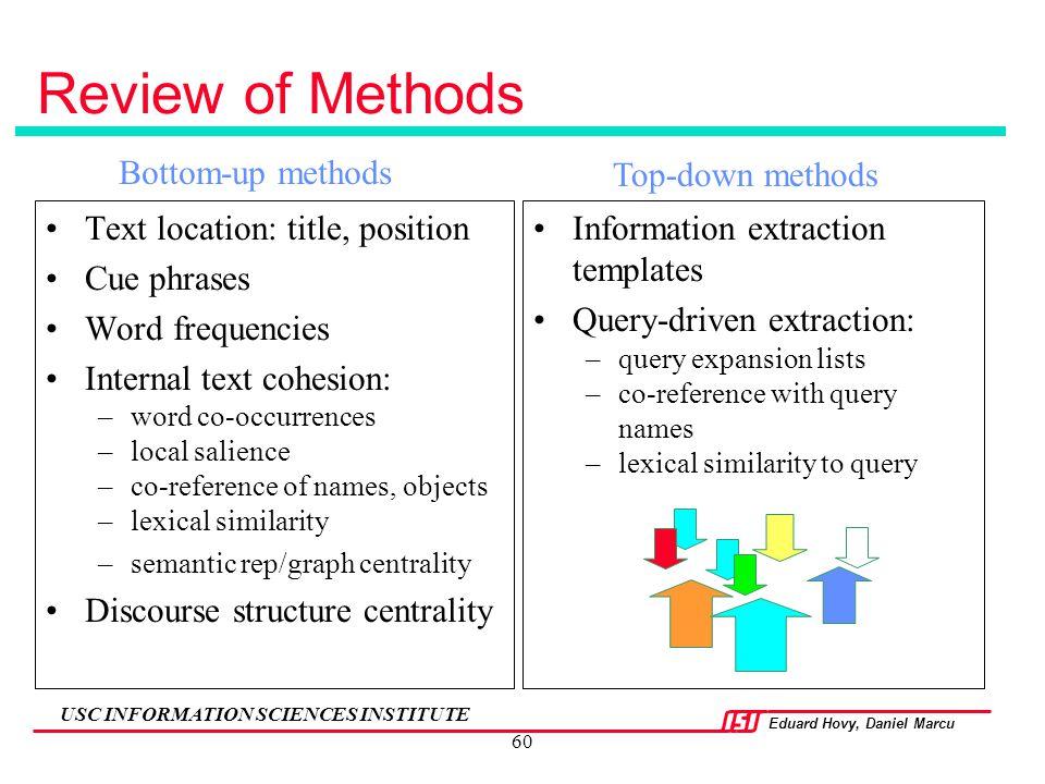 Review of Methods Bottom-up methods Top-down methods