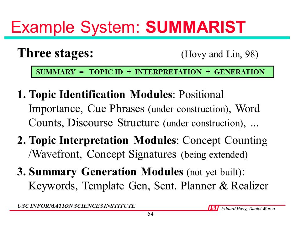 Example System: SUMMARIST