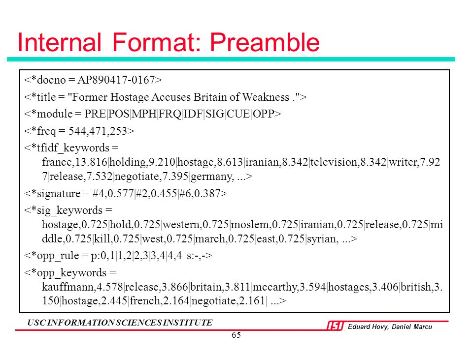 Internal Format: Preamble