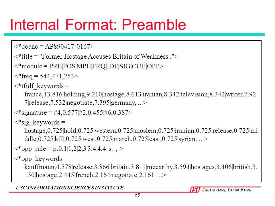 Internal Format: Preamble