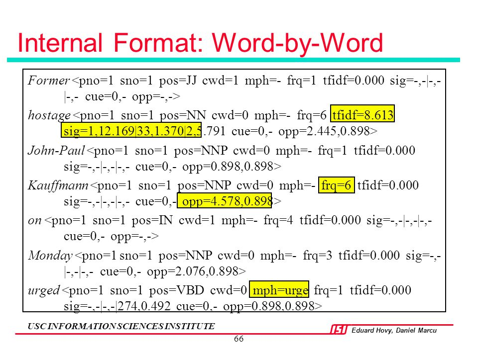 Internal Format: Word-by-Word