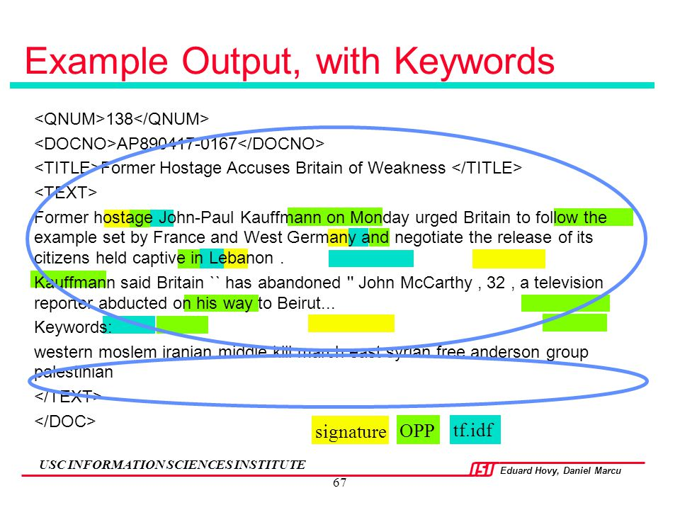 Example Output, with Keywords
