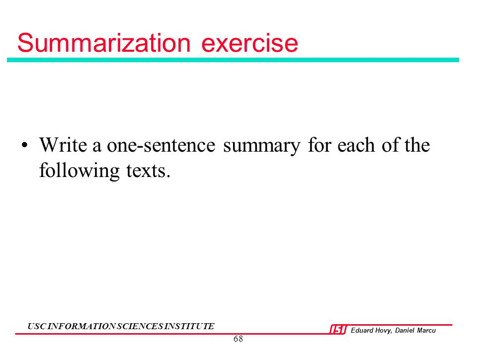 Summarization exercise