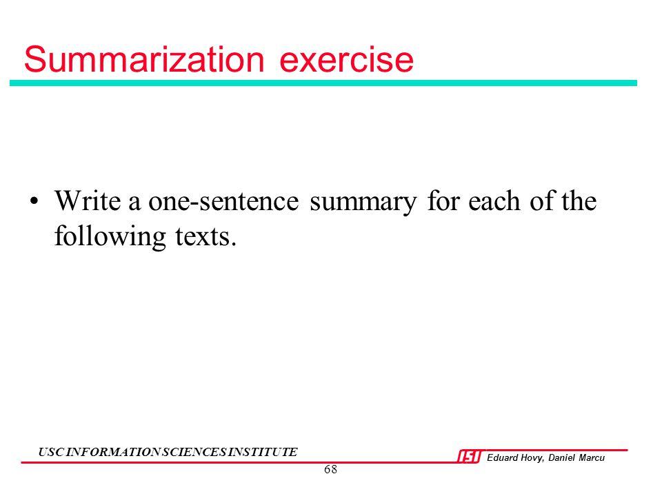 Summarization exercise