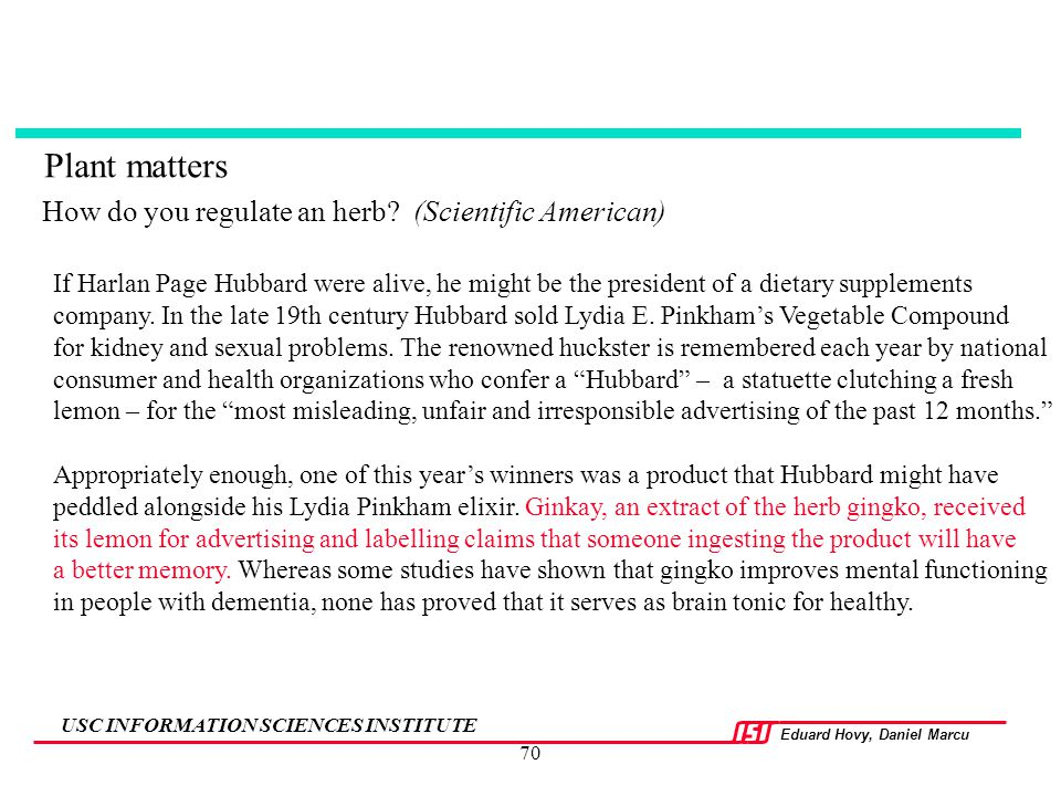 How do you regulate an herb (Scientific American)