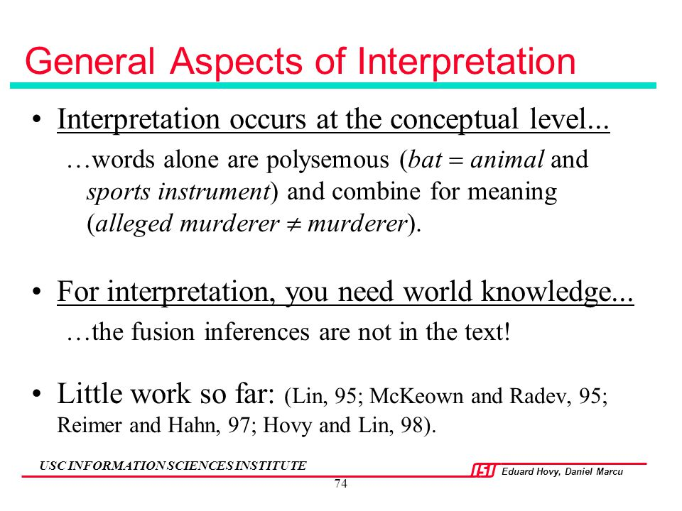 General Aspects of Interpretation