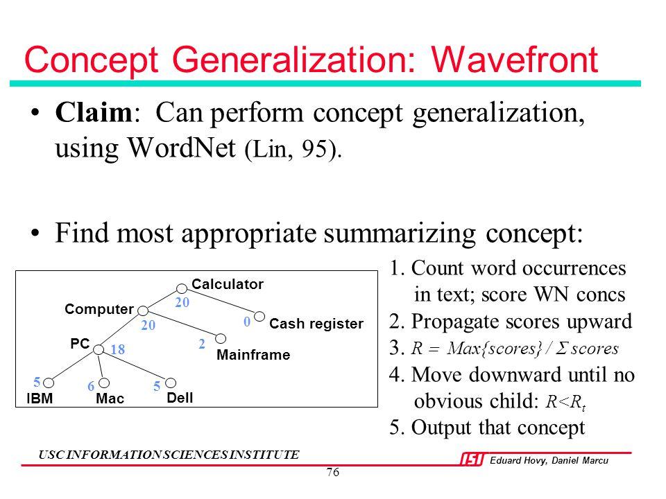 Concept Generalization: Wavefront