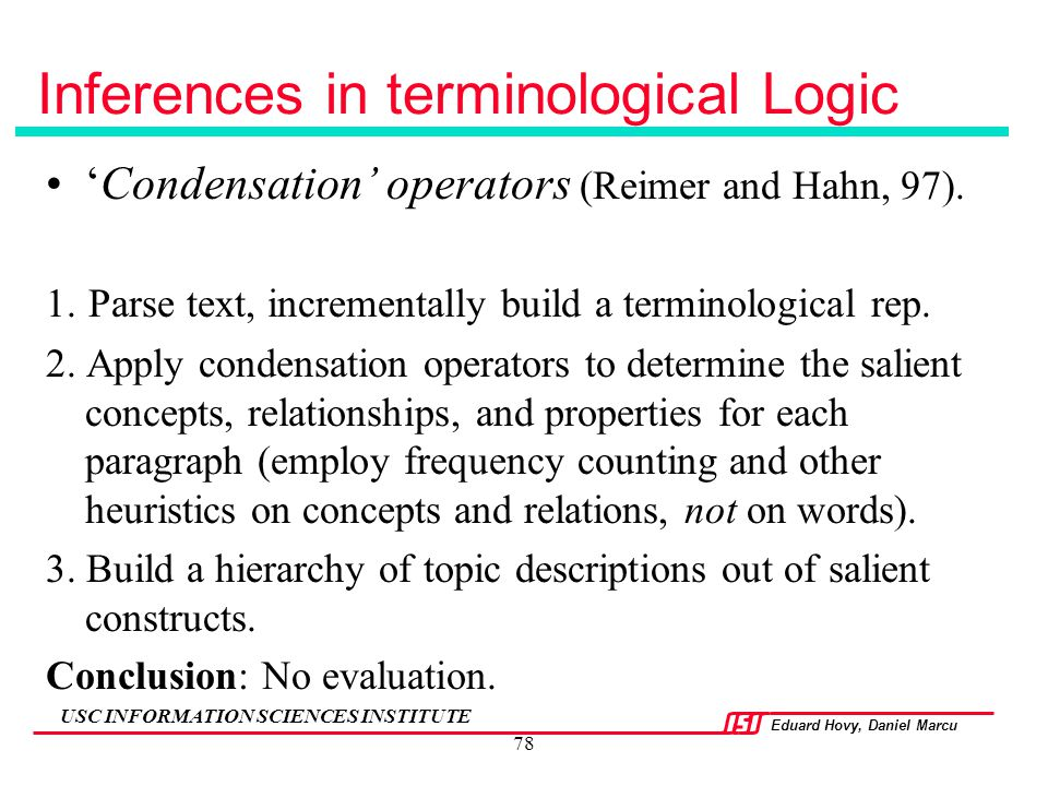 Inferences in terminological Logic
