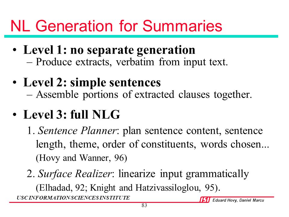 NL Generation for Summaries