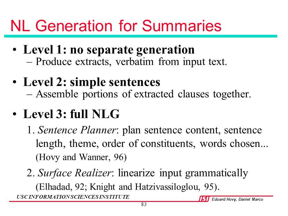 NL Generation for Summaries
