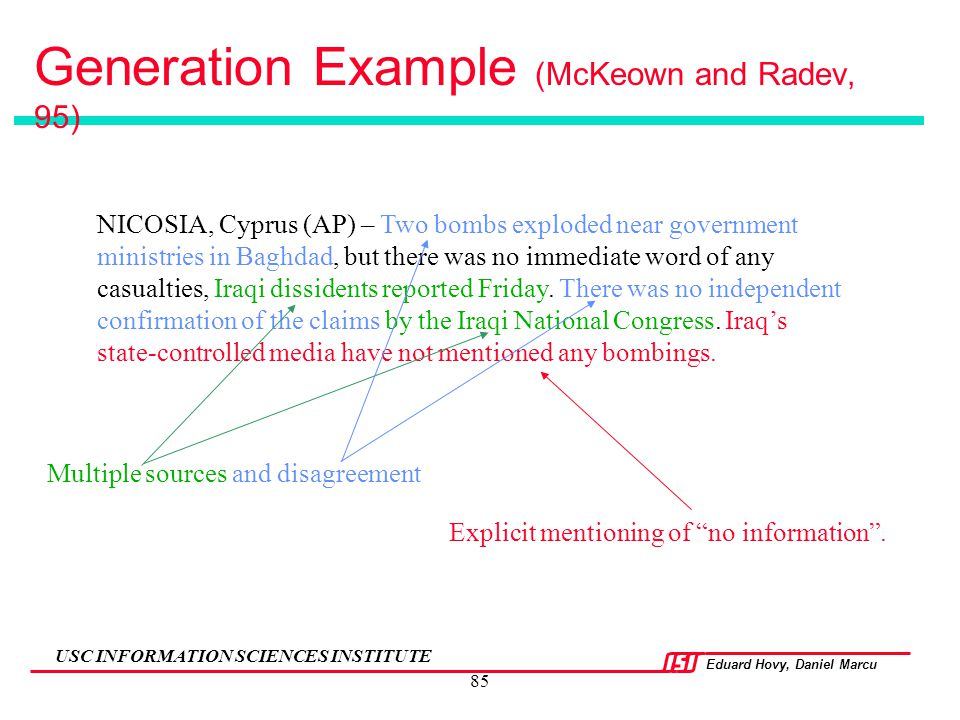 Generation Example (McKeown and Radev, 95)