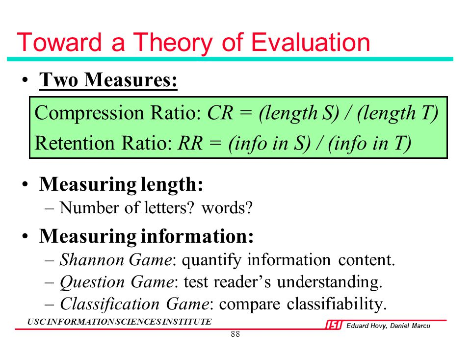 Toward a Theory of Evaluation