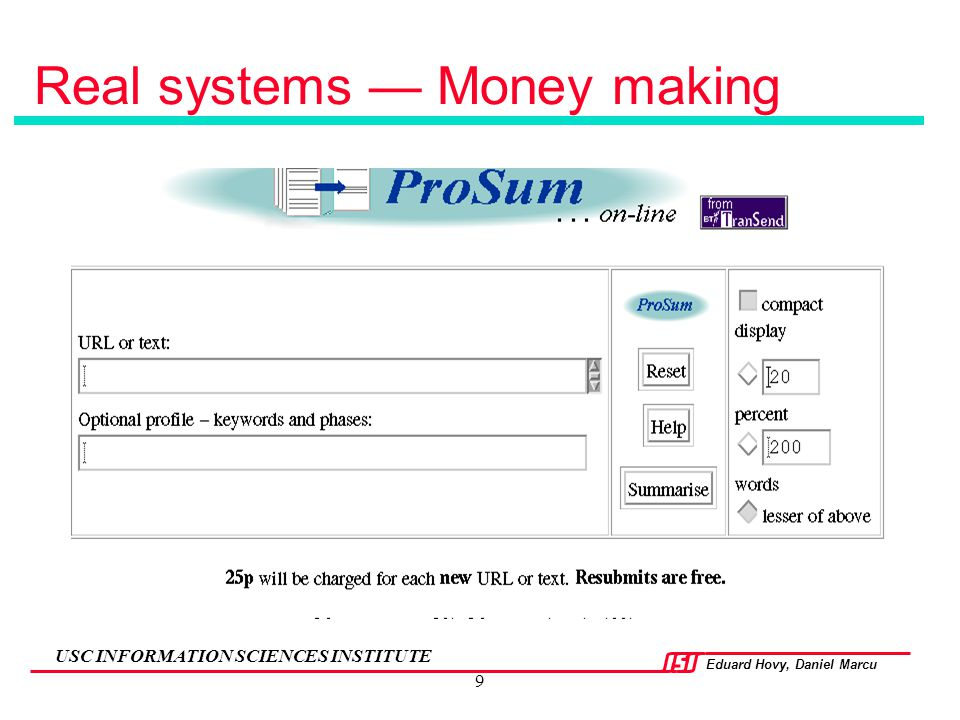 Real systems — Money making