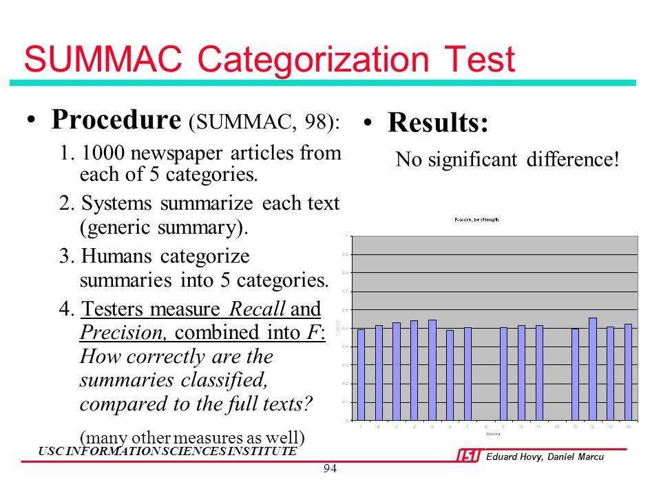 SUMMAC Categorization Test
