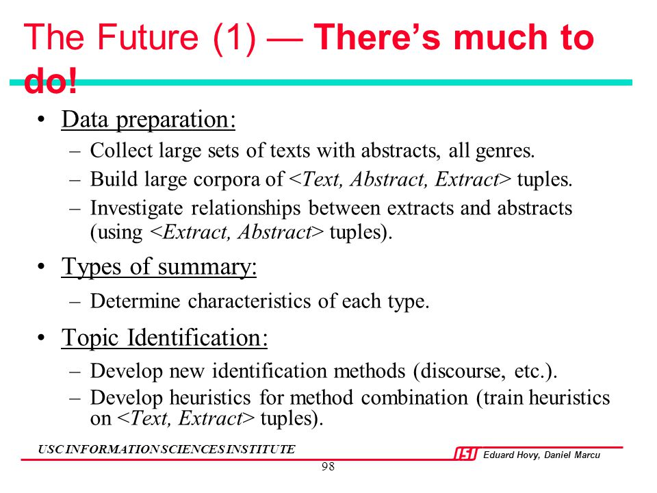 The Future (1) — There's much to do!