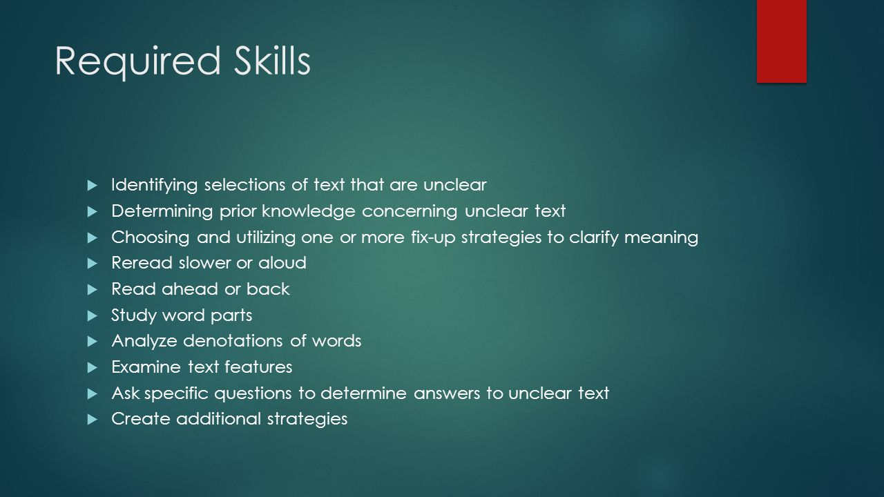 Required Skills Identifying selections of text that are unclear