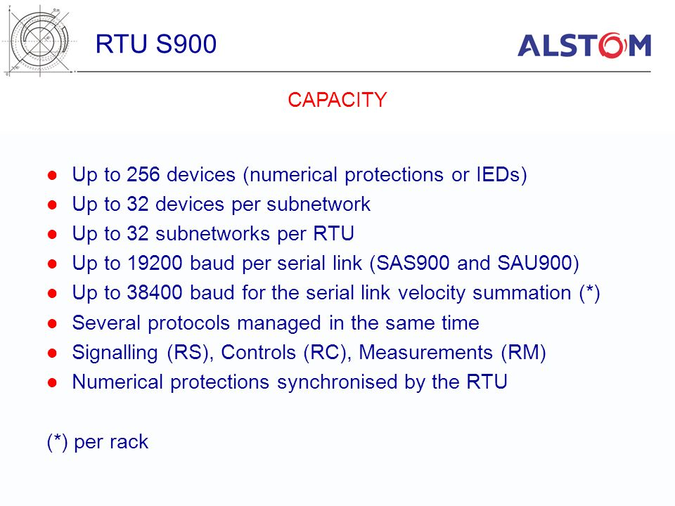 RTU S900 CAPACITY Up to 256 devices (numerical protections or IEDs)