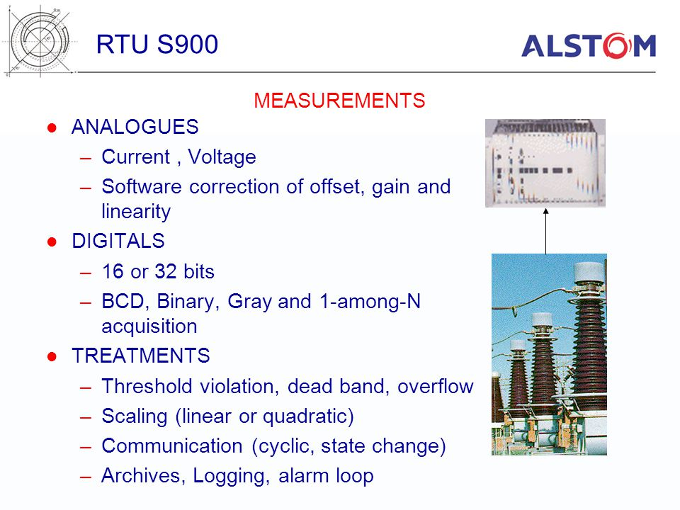 RTU S900 MEASUREMENTS ANALOGUES Current , Voltage