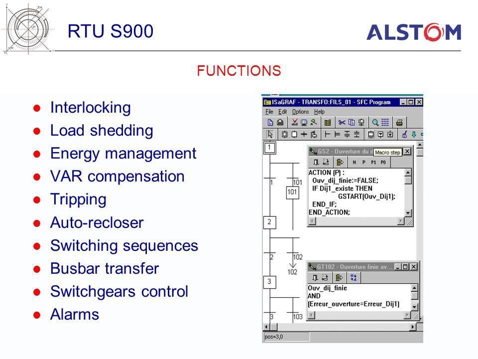 RTU S900 Interlocking Load shedding Energy management VAR compensation