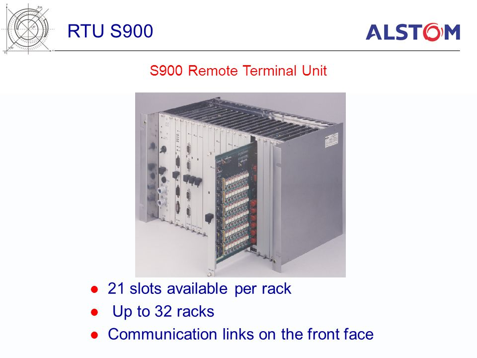 RTU S900 21 slots available per rack Up to 32 racks