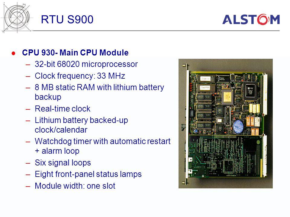 RTU S900 CPU 930- Main CPU Module 32-bit 68020 microprocessor