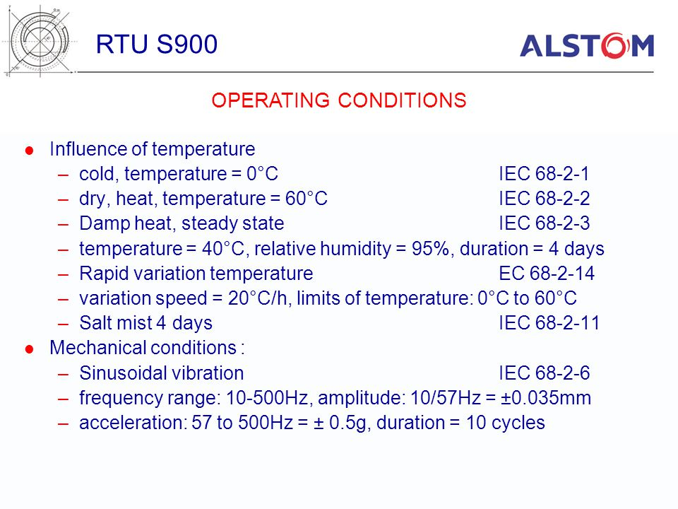 RTU S900 OPERATING CONDITIONS Influence of temperature