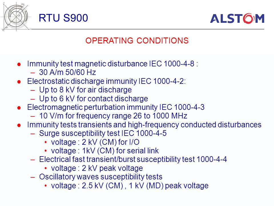 RTU S900 OPERATING CONDITIONS