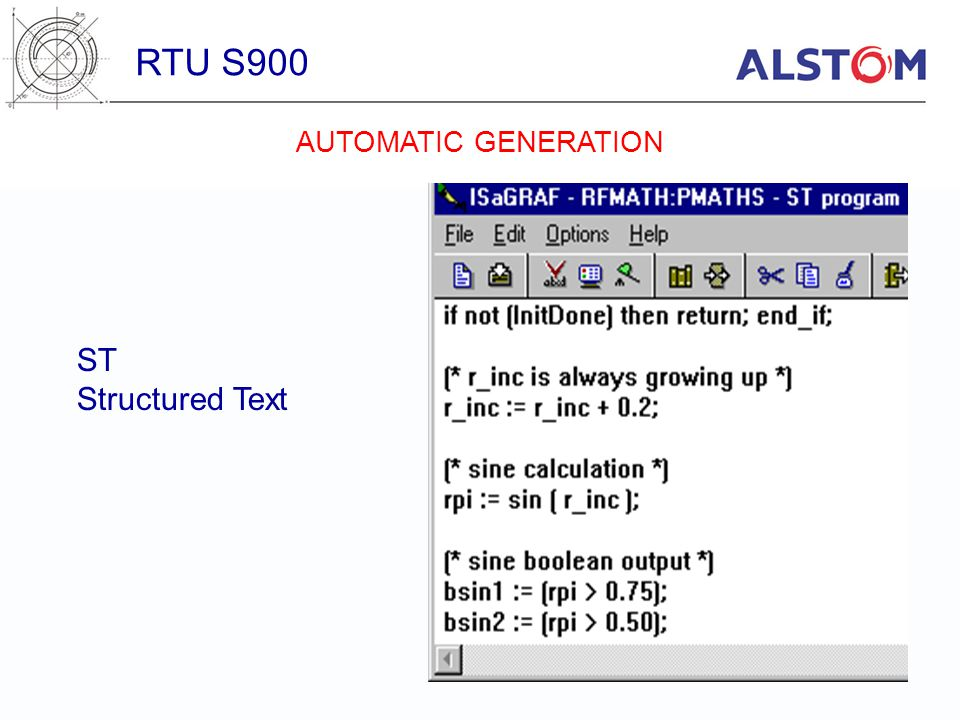 RTU S900 ST Structured Text AUTOMATIC GENERATION