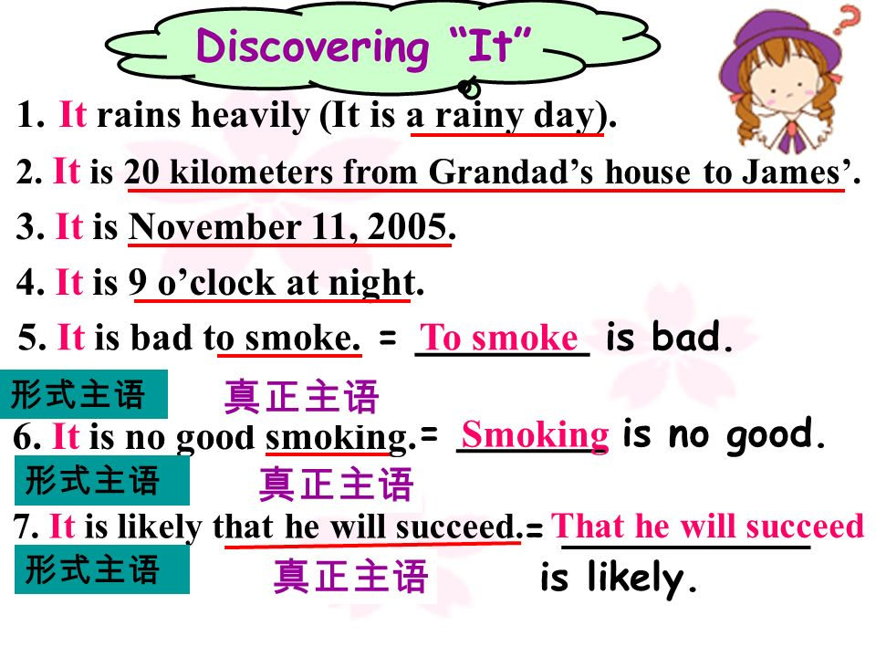 Discovering It It rains heavily (It is a rainy day).