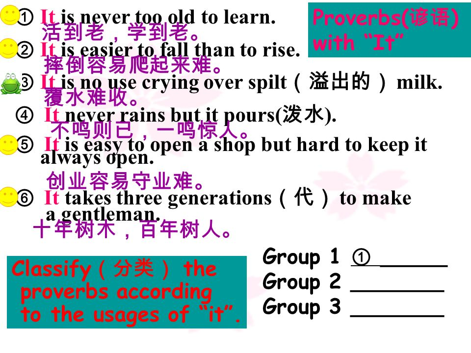 Proverbs(谚语) with It ① It is never too old to learn. 活到老,学到老。 ② It is easier to fall than to rise.
