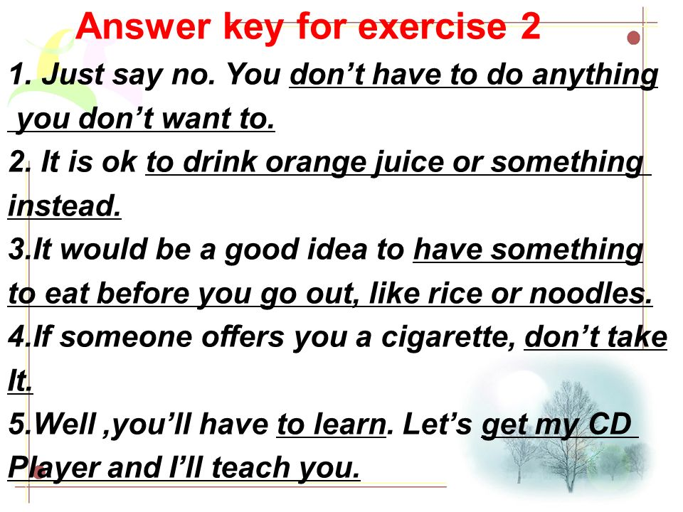 Answer key for exercise 2