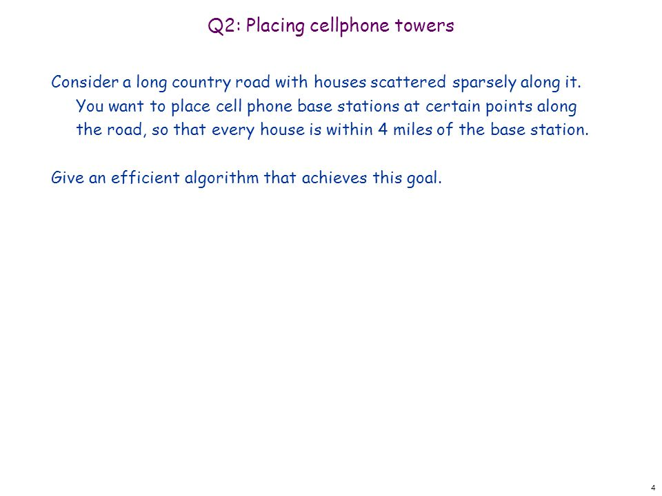 Q2: Placing cellphone towers